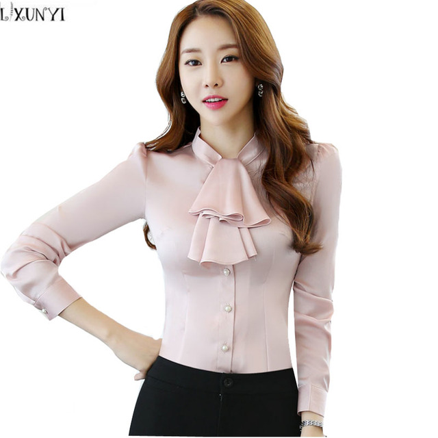 Plus Size Women Blouses 2017 Autumn Long Sleeve Shirt Women Elegant  Korean Slim Office Blouses Ruffled Collar OL Formal tops