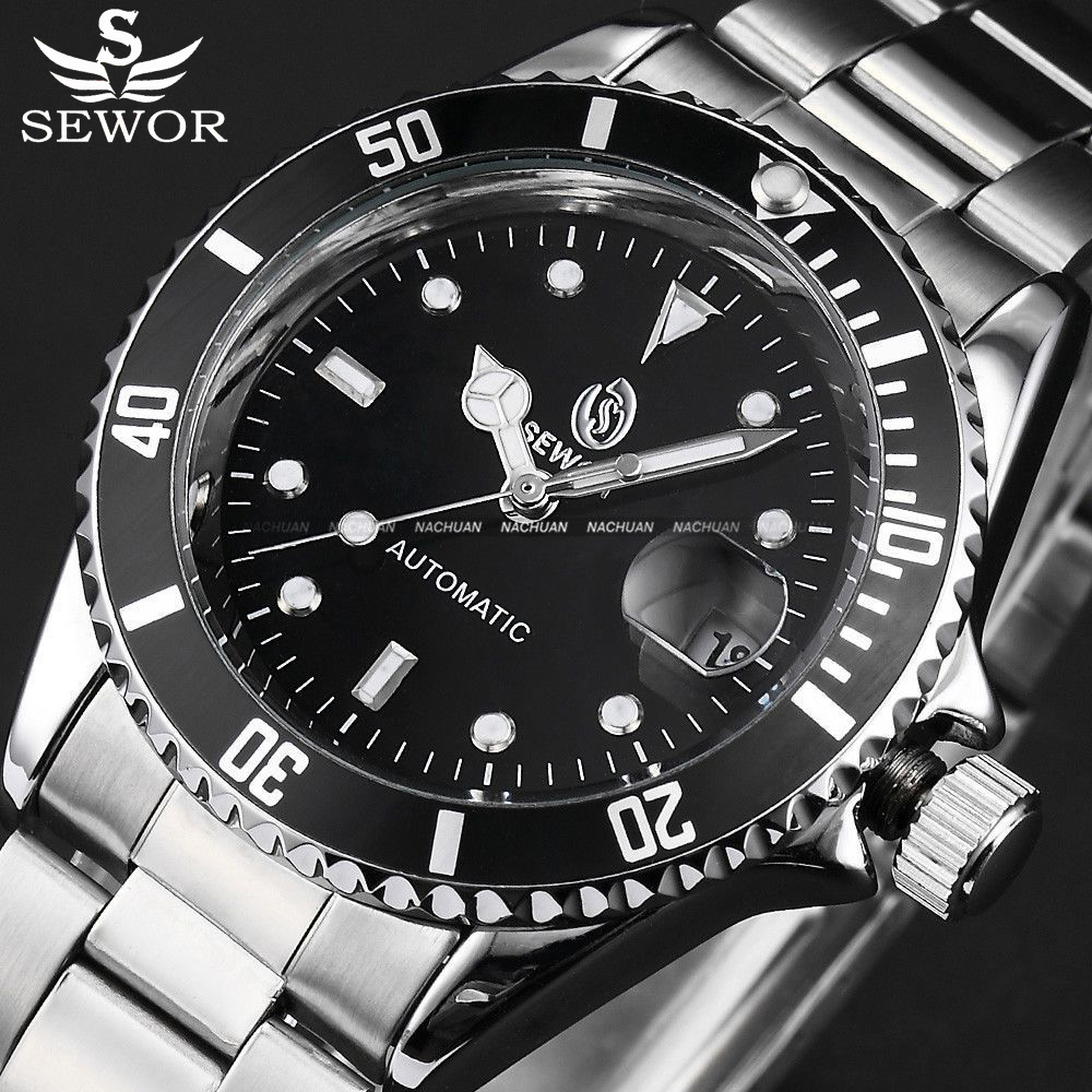 SEWOR Black Case Relogio Self Wind Mechanical Automatic Watch Date Stainless Steel Band Male Clock Men's Army Military Watch sewor sw031 mechanical male watch page 6