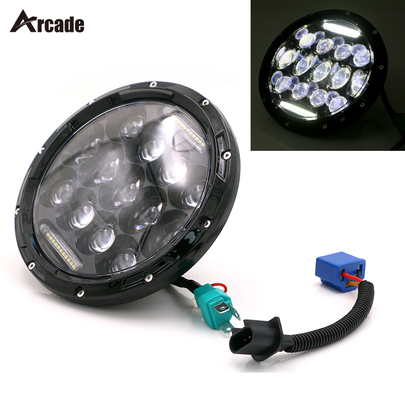 Arcade 7 inch 75W 4800lm H4 H13 Hi/Lo Beam LED Headlight with White DRL For Wrangler JK TJ LJ Harley-Davidson Motorcycle 1pc round 75w 7 inch led headlight motorcycle for harley with drl hi lo beam 7 head lamp for led jeep wrangler headlights