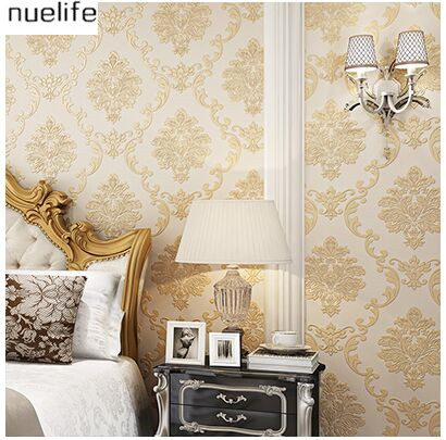 цены 0.53x10m European-style non-woven wallpaper thick 3d Damascus flower pattern bedroom living room background wallpaper