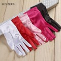 Pink Bridal Gloves Finger Wrist Length Short Wedding Gloves For Women Red/White/Royal Blue/Purple/Black Gants De Mariee BV009