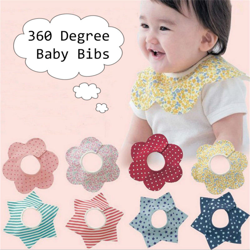 1Pc Baby bibs round neck 360 degree burp cloths infant saliva towels