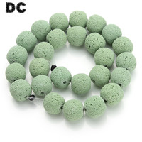 DC Green Natural Lava Beads For Making DIY Jewelry Bracelet Necklace Material Loose Spacer Beads Sold