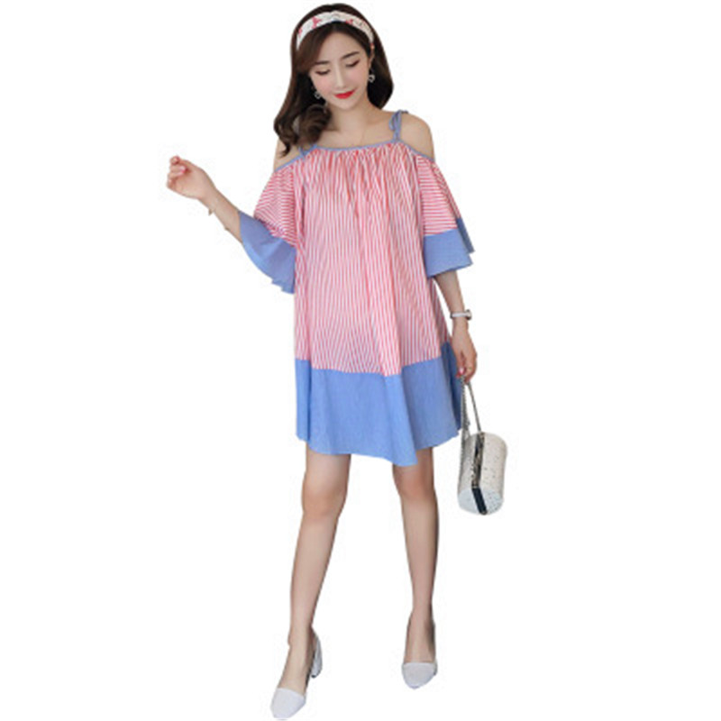 2018 Real Maternidade Maternity Clothes Summer Casual New Loose Strapless Fashion Stripes Large Size Pregnant Women Knee-length