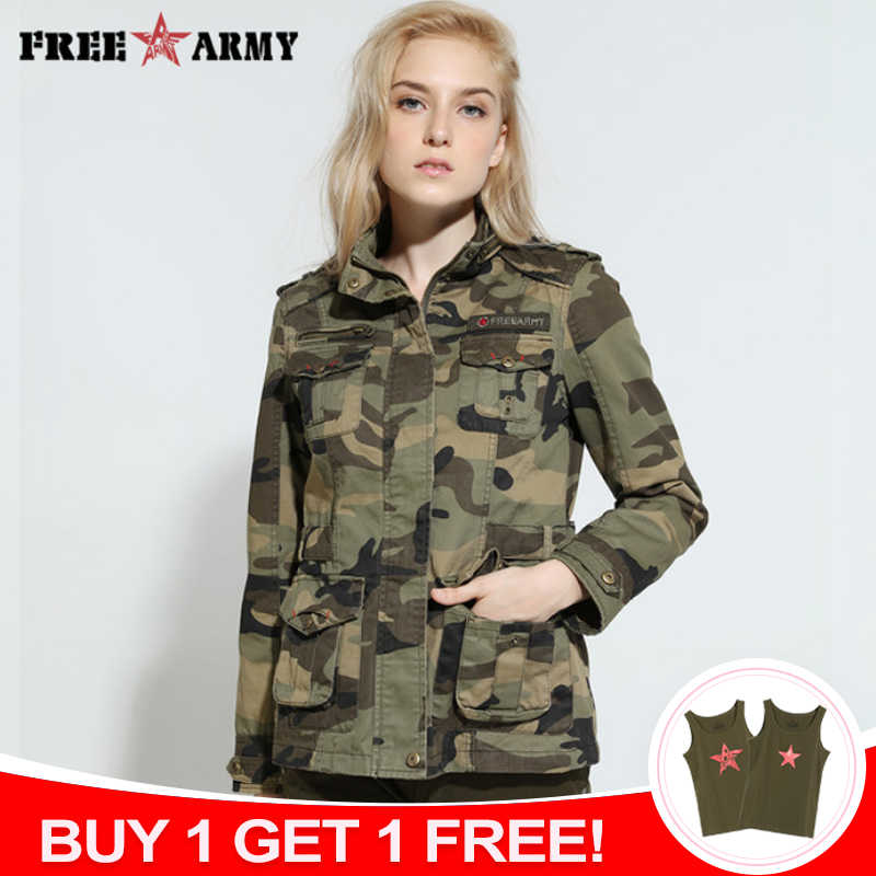 ffc05d85dbd51 High Quality Camo Women Jacket Military Tactical Coat Casual Bomber Jacket  Green Women's Designer Brand Coat
