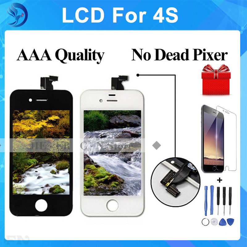 AAA No Dead Pixel For IPhone 4S LCD Touch Screen Digitizer LCD Assembly Replacement Tools Tempered Glass Black  white DHL 5pcs lot aaa free shipping for iphone 6s lcd display touch screen digitizer replacement assembly no dead pixel black