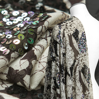 Handmade Shinny Sequins Black And White Floral Prints Georgette Fabric Sewing For Dress Shirt Skirt Home