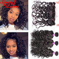 8A Peruvian Water Wave Virgin Hair With Closure 13X4 Lace Frontal Closure With Bundles 4Pcs/Lot Rosa Hair Products With Closures