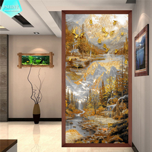 PSHINY 5D DIY Diamond embroidery sale Golden Country scenery Full drill round rhinestones pictures Painting new arrivals