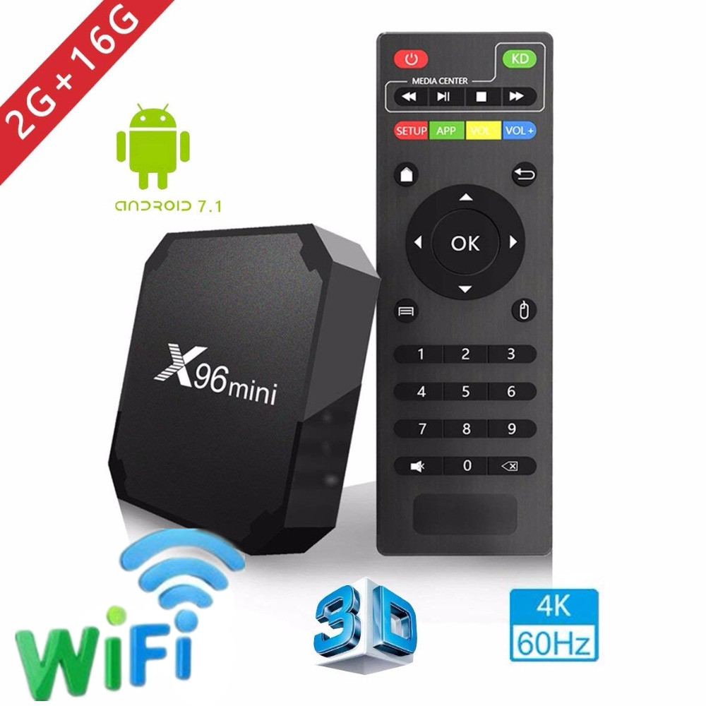 2018 X96 mini tv box Android 7.1.2 2GB 16GB andriod TV BOX Amlogic S905W Quad Core Suppot H.265 UHD 4K WiFi X96mini Set-top box цена