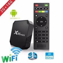 2018X96 mini caja de tv Android 7.1.2 2 GB 16 GB Android TV box Amlogic S905W Quad Core Soporte h.265 UHD 4 K WiFi X96mini Set-top box