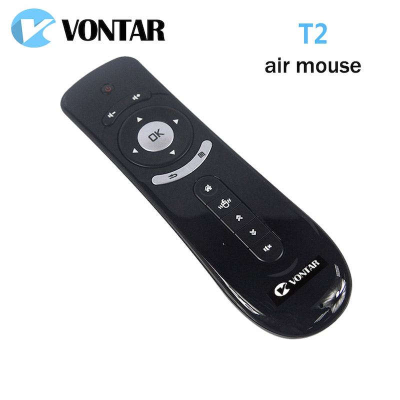 VONTAR Gyroscope Mini Fly Air Mouse T2 2.4G Wireless Keyboard remote control 3D Sense Motion Stick For Android TV Google TV box vontar 2 4ghz fly air mouse wireless keyboard c2 remote control with ir learning function for smart tv android tv box pc