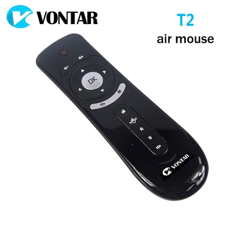 VONTAR giroscopio Mini Fly Air ratón T2 2,4g control remoto teclado inalámbrico 3D sentido de movimiento del palillo para Android TV caja de Google TV