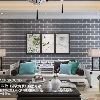 Clothing store bedroom living room 3D retro PVC Chinese brick wallpaper creative brick pattern 0.53m*10m