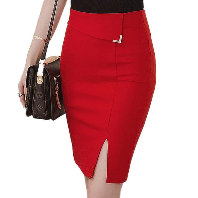 Saia Da Forma das mulheres Novas 2017 de Moda Plus Size Fino Preto Vermelho Bodycon Pencil Skirt Mulheres do joelho-comprimento Saias Casuais saia S-5XL