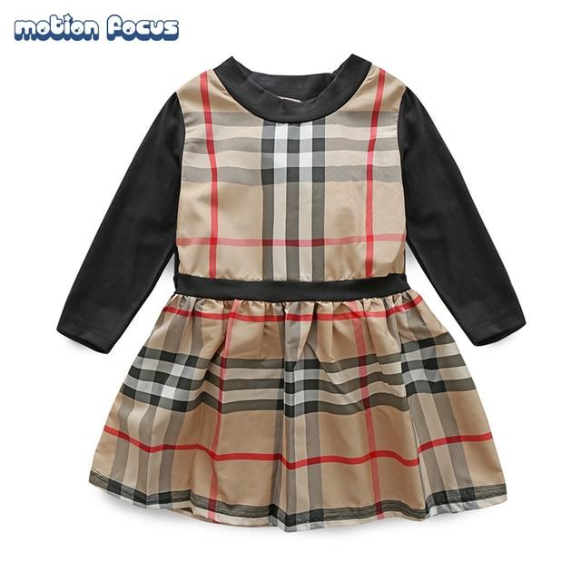 New 2017 European Style Newborn Baby Girl Dress Children Plaid Dress Brand Designer A-Line Princess Dress Toddler Girl Clothing