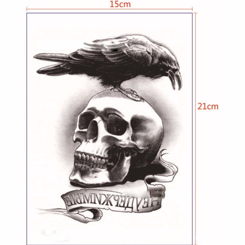 2 шт. Средства ухода за кожей Книги по искусству Водонепроницаемый Временные татуировки рука рукавом Ужасы череп ворона cool tough человек подде...