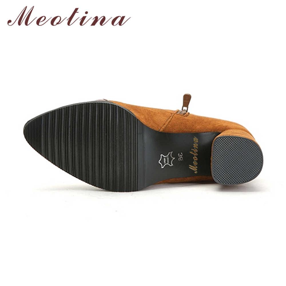 Meotina/ботинки на высоком каблуке с заклепками; ботильоны для женщин; Зимние полусапожки с острым носком; модная Женская Осенняя обувь на молнии; цвет черный, 46