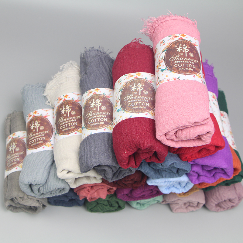 10pcs/lot High Quality Plain 40 Colors Crinkled Bubble Scarf Shawl With Fringes Muslim Hijab Head Wrap Veil