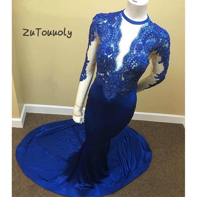 Élégantes robes de bal bleu Royal pour les filles noires O cou manches longues Illusion hauts Appliques longues robes de soirée formelles pour la fête