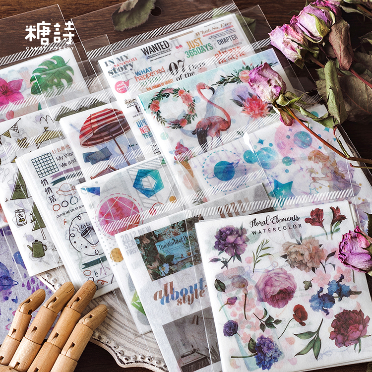 1set/1lot Kawaii Stationery Stickers Flower Geometry Diary Planner Decorative Mobile Stickers Scrapbooking DIY Craft Stickers