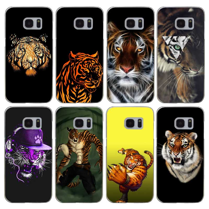 G460 Tiger Abstract Tiger On Moon Transparent Hard PC Case Cover For Samsung Galaxy S 3 4 5 6 7 8 Mini Edge Plus Note 3 4 5 8