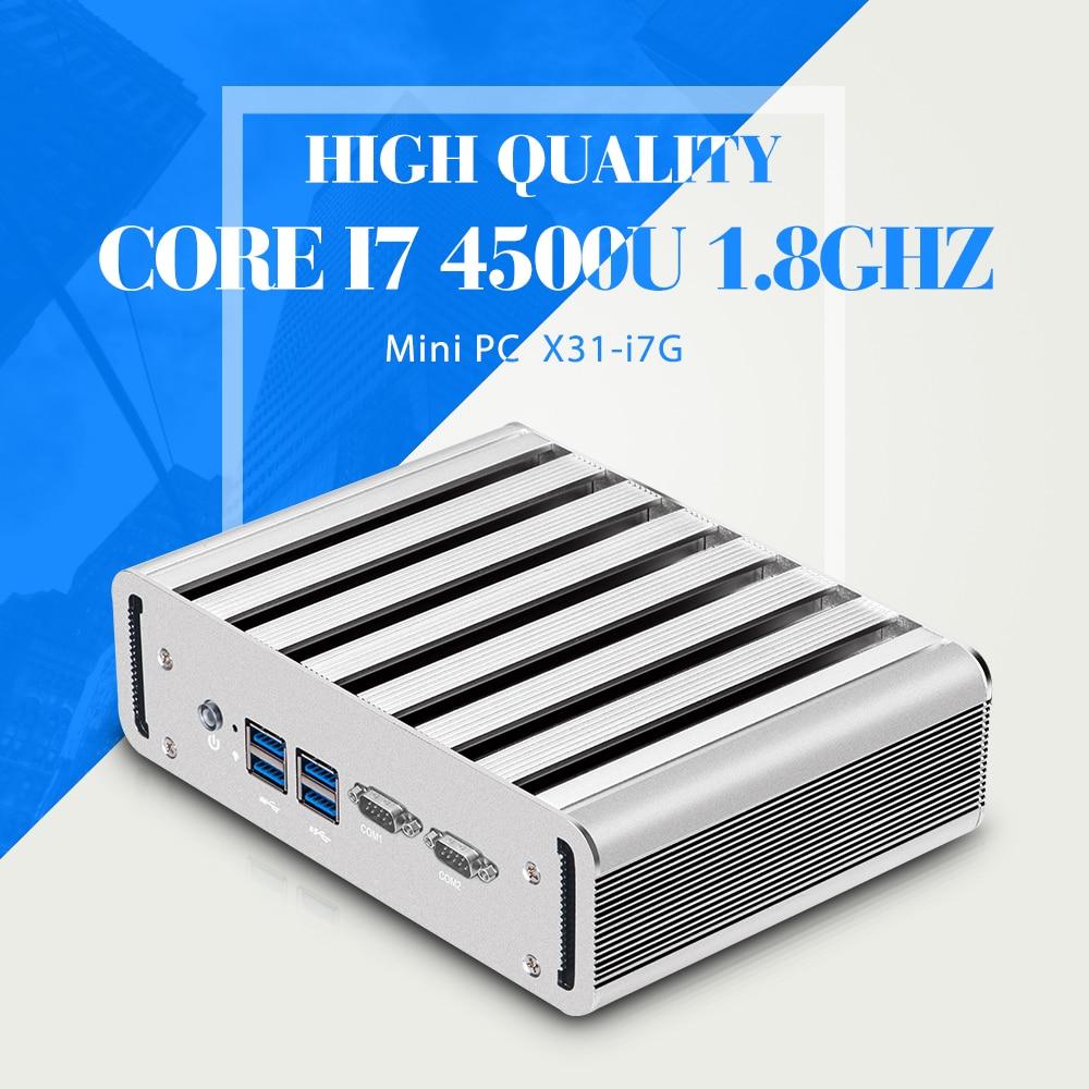 Fanless Embedded PC 1080P Core I7 4500U,Barebone Mini Desktop Computer Hdmi Thin Client PC Windows7
