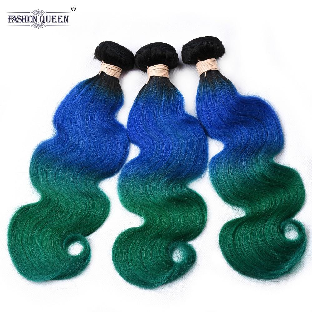 Peruvian Body Wave Bundles TB Blue Green Ombre Color Non Remy Human Hair Weave 3 Bundles