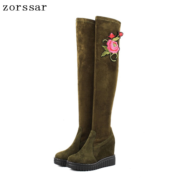 {Zorssar} Kid Suede Leather Female High Boots Women Over The Knee Boots High heels Platform Wedge Womens Shoes Winter Snow Boots zorssar 2017 new winter female shoes suede platform height increasing ankle snow boots fashion buckle high heels women boots