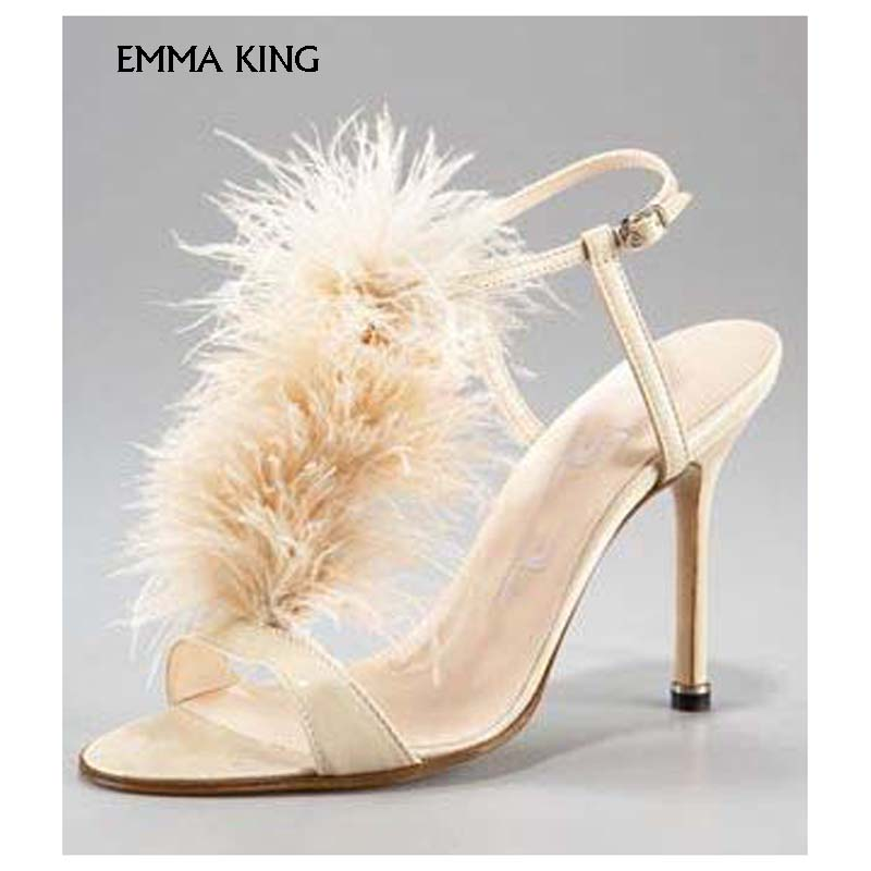 EMMA KING Sandalias Mujer 2018 New Fashion Hairy Red Simple Sexy buckle High Heel Sandals Stage Show Roman Party Shoes Woman