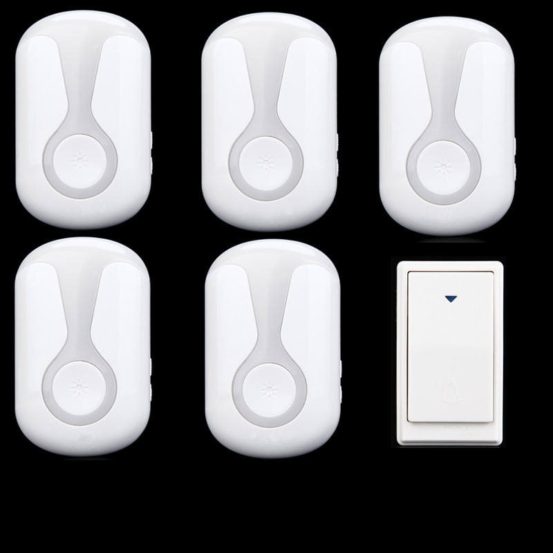 ФОТО 36 Tunes Wireless Cordless Doorbell Remote Door Bell Chime,1 Button and 5 Receivers,No need battery,Waterproof, EU/US/UK Plug