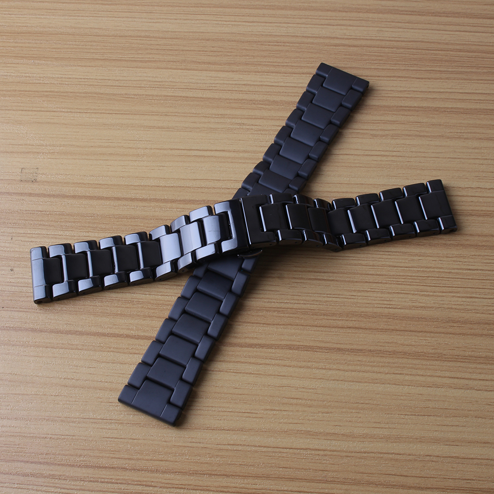 Ceramic Watchband 22mm for Samsung Gear S3 Classic Frontier Watch Band Butterfly Clasp Wrist Strap promotion matte polished new for samsung gear s2 classic black white ceramic bracelet quality watchband 20mm butterfly clasp