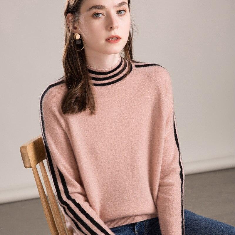 Demi-col haut rayé cachemire col roulé pull femmes style coréen pull fem me 2019 automne vêtement tricoté d'hiver plus la taille