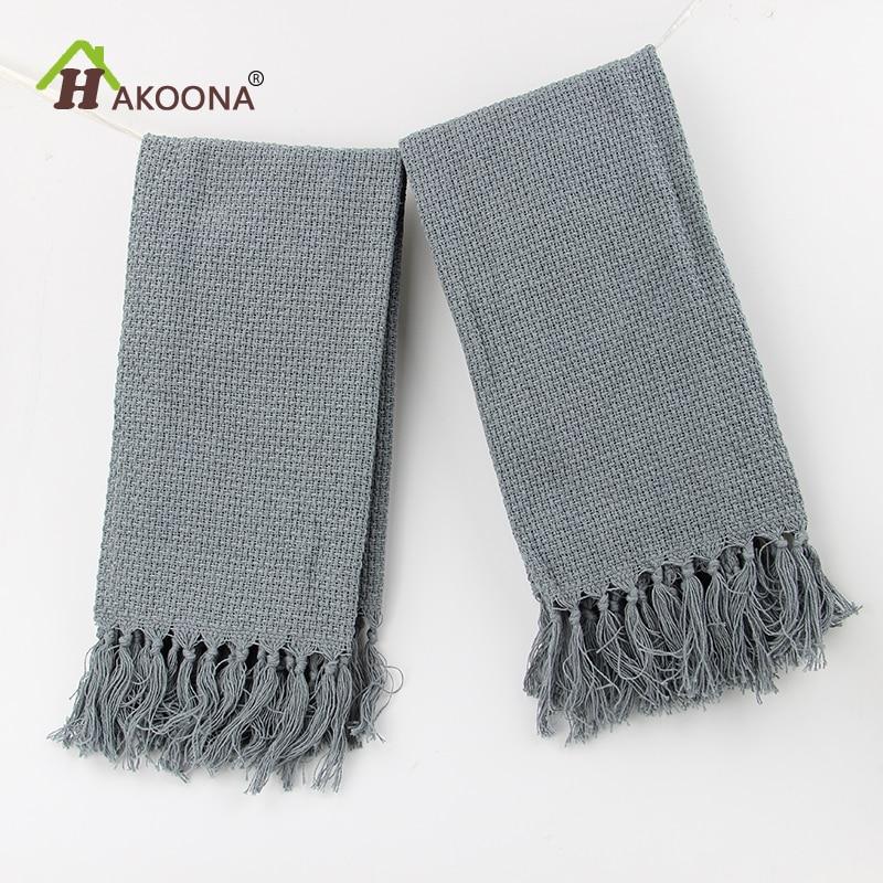 HAKOONA 2 piece/set Table Fabric Napkins Tassel Cotton Wedding Gray Kitchen Napkins 38x60cm Tea Towels Decor