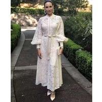 Cosmicchic 2019 Autumn Long Sleeve Maxi Dress Elegant Retro Lace White Dresses Embroidery Boho Party Dress Runway Designer Zim