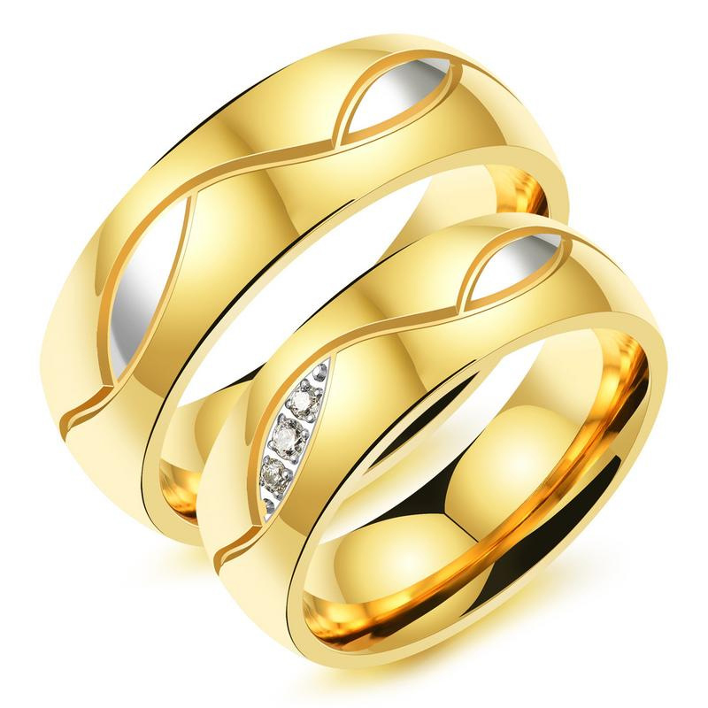 Золото Цвет Романтические любителей кольцо для Для мужчин Для женщин обещание ювелирные изделия Нержавеющаясталь Cubic Zirconia Wedding Band пару кол...