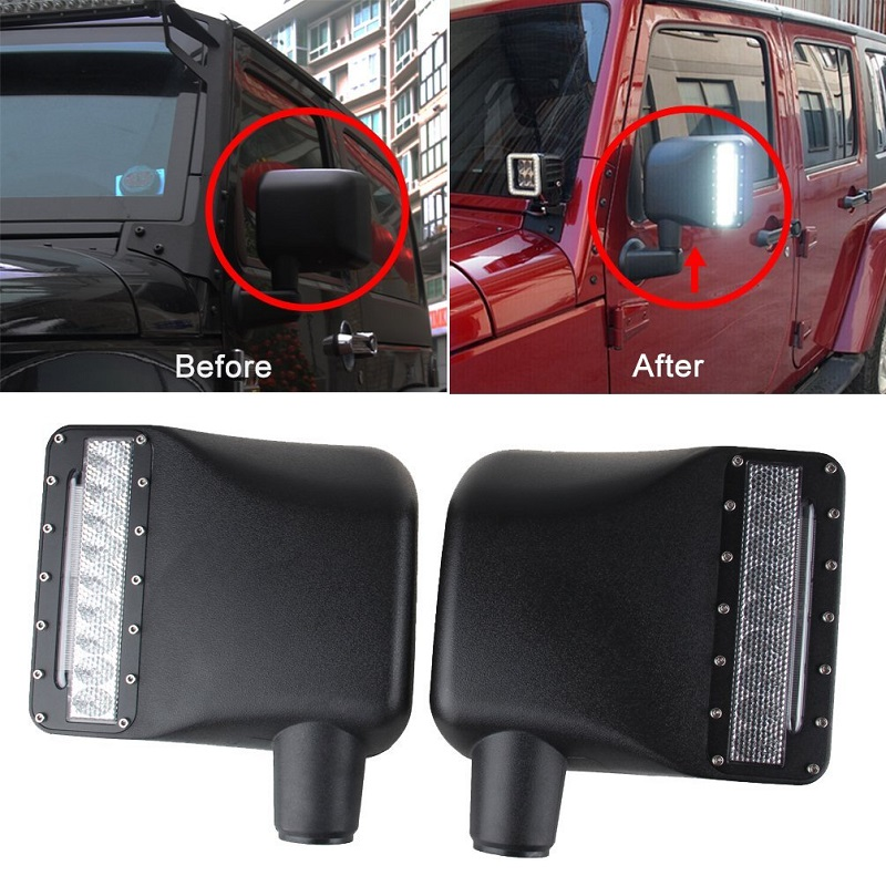 For Jeep Wrangler Accessories Side View Mirrors Housing with Amber Turn Signal Light For Jeep Wrangler