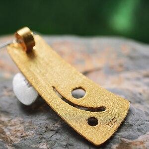 Image 2 - Женский кулон в виде цветка клевера Lotus Fun, кулон без цепочки из серебра 925 пробы с натуральным жемчугом, ювелирное изделие из 18 каратного золота