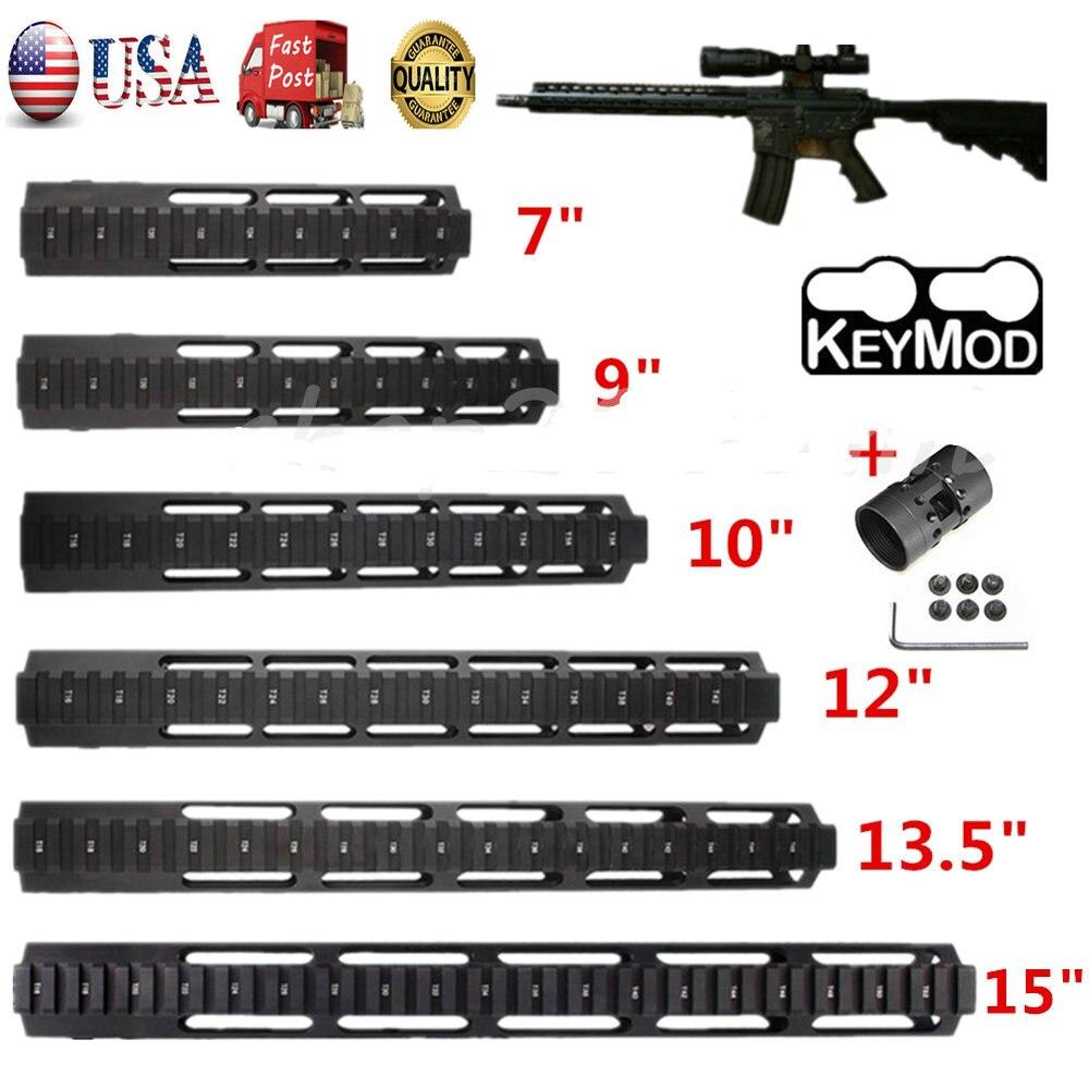 7 9 10 12 13.5 15 AR15 Free Float Keymod Handguard Picatinny Rail pour Trail Chasse Tactique Portée de Fusil de Montage w/Écrou