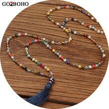 Go2boho колье, длинное ожерелье, массивное ожерелье, женское колье, подвеска с кисточкой, красочный кристалл, камень, богема, ручная работа, ювелирное изделие, подарок
