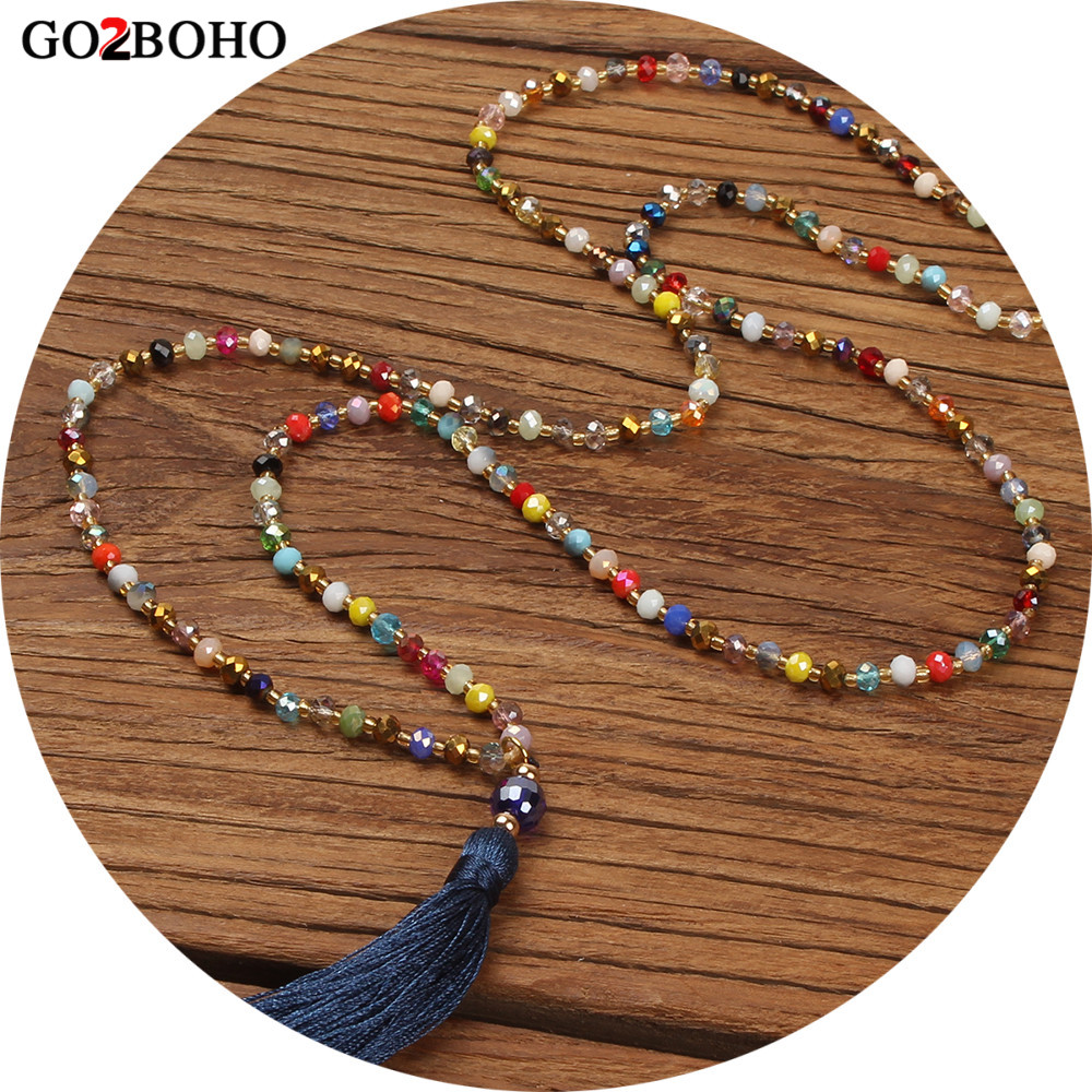Go2boho Collier Long Necklace Statement Necklace Women Choker Tassel Pendant Colorful Crystal Stone Boheme Handmade Jewelry Gift