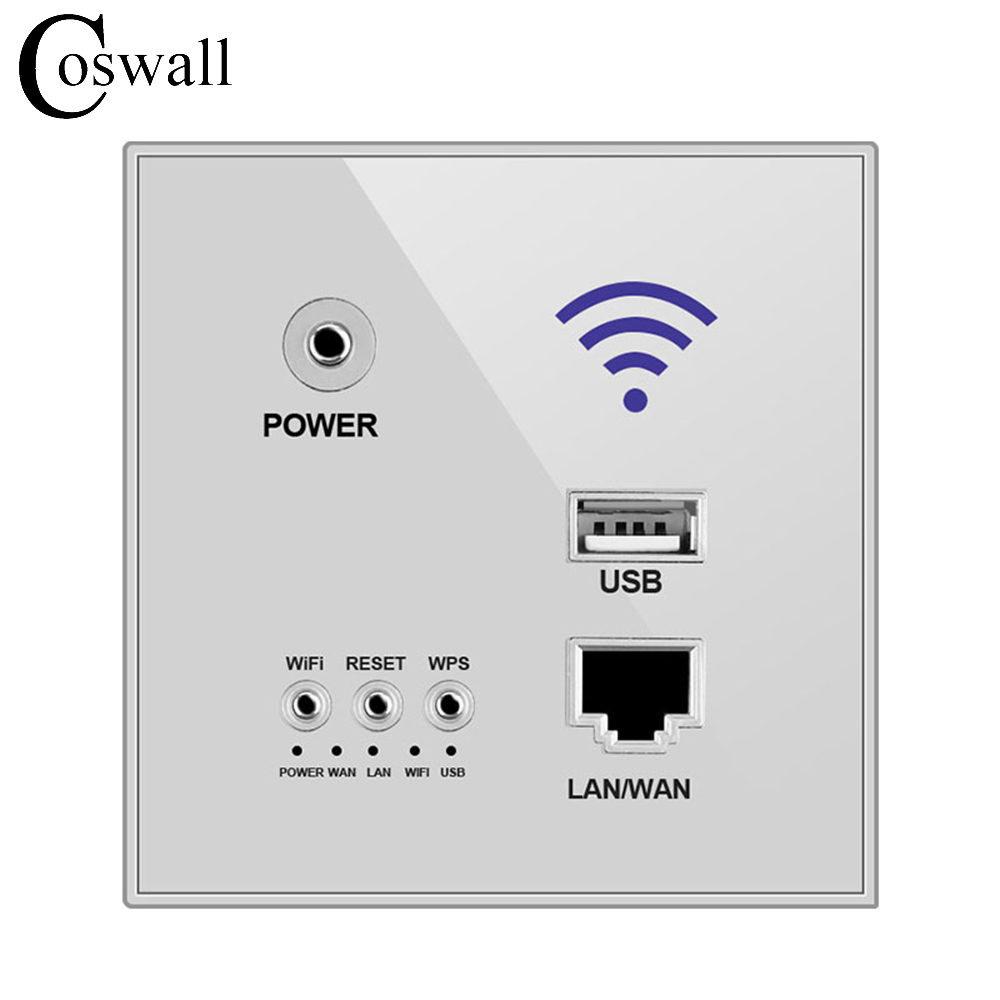 Coswall 300M Wall Embedded Wireless AP Router Wall WIFI Grey Enrutador Panel Socket shierak 300m wall wireless ap router usb charging port 1000ma output smart wall wifi router panel socket 10a