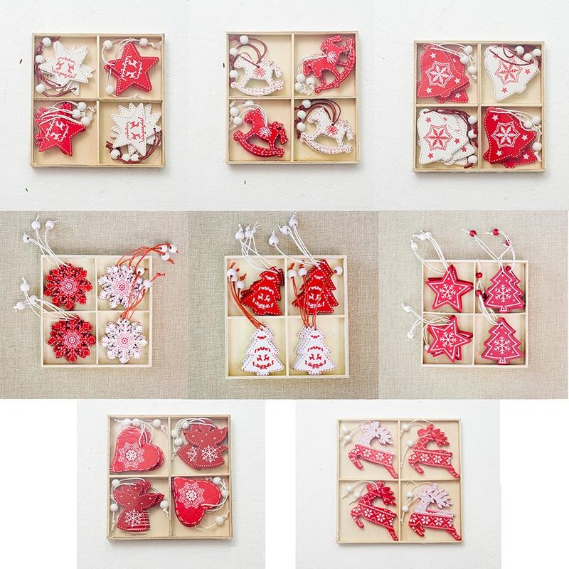 12pcs Box Christmas Tree Decorations Diy Wooden Hanging