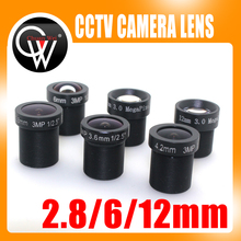 3pcs/lot 2.8mm 6mm 12mm lens 1080P HD fixed lens 1/2.5″ M12 F1.6 3.0 Mega pixels lens for Security Camera Free shipping
