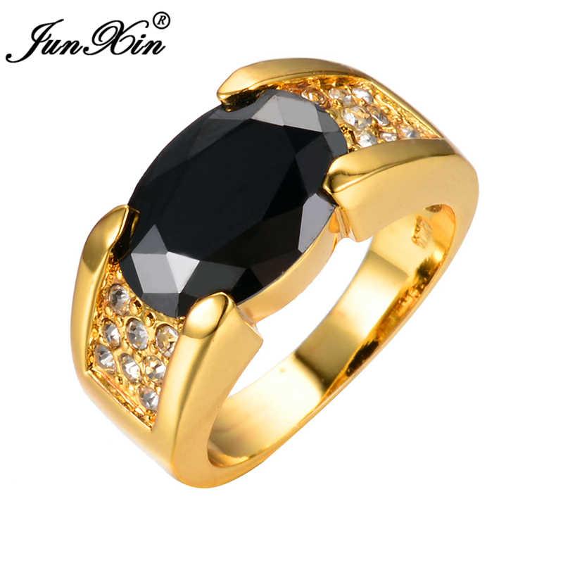 Junxin גדול סגלגל שחור חתונת גברים נשים טבעת זהב צהוב מלא לבן זירקון טבעות וינטג 'תכשיטי האופנה bijoux femme