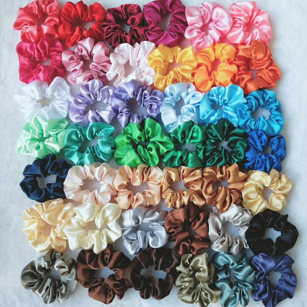 1PC Women Elegant Satin Solid Elastic Hair Bands Ponytail Holder Scrunchies Tie Hair Rubber Band Headband Lady Hair Accessories