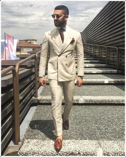 2018 Latest Coat Pant Designs Ivory linen double breasted men suit Wide peaked lapel tuxedo Smart casual business jacket+pants