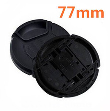 30 stks/partij 77mm center pinch Snap on cap cover LOGO voor canon 77mm Lens