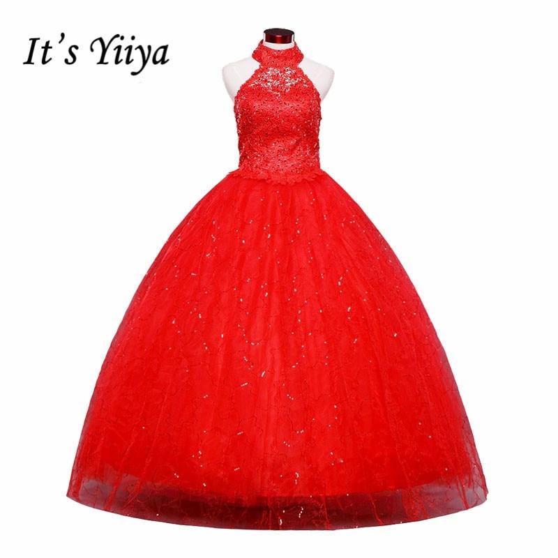 Free Shipping Red Vestidos De Novia 2015 White Plus Size Lace Wedding Dress Cheap China Wedding Gowns Halter Bridal Dress HS160