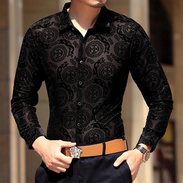 Moda de gama alta Importados terciopelo dorado hueco camisa de manga larga Nuevo 2016 de Primavera y Otoño de seda de hielo tallado calidad camisa de los hombres S-4XL